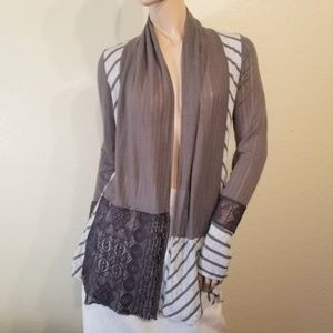 BKE Boutique Large Gray Lace Panel Cardigan